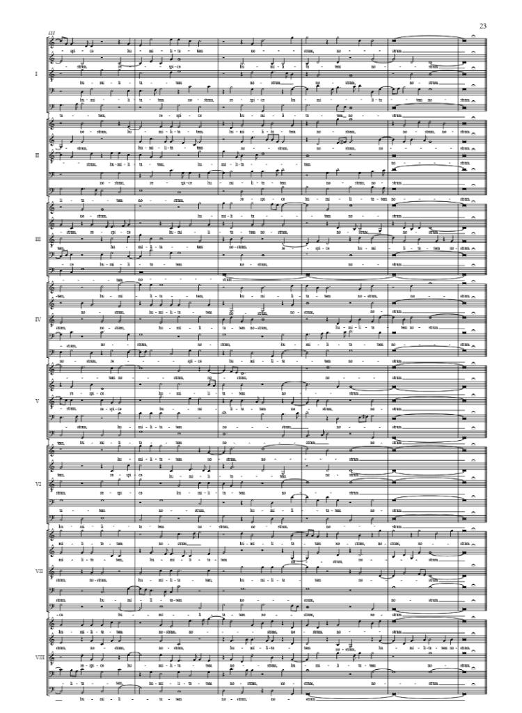 Laatste bladzij van de partituur 'Spem in alium'